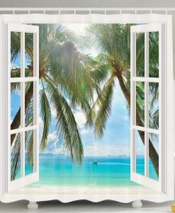 Window Ocean Views Shower Curtain