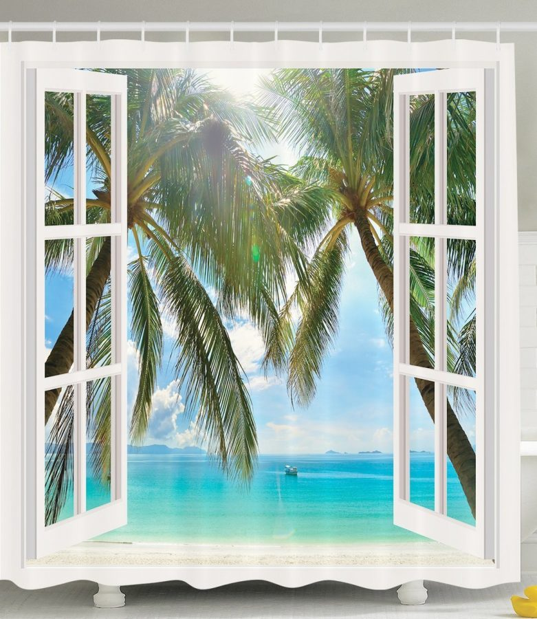 Beach Window Curtains Part - 36: Window Ocean Views Shower Curtain