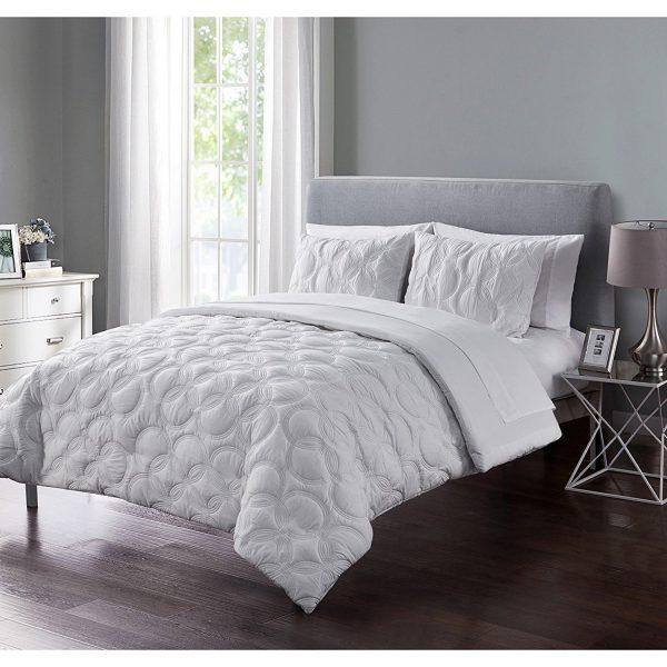 Modern White Geometric Circle Bedding Set