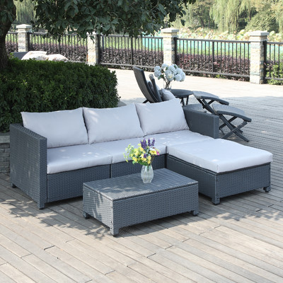 Lachesis 5-PC Grey Outdoor Wicker Sectional