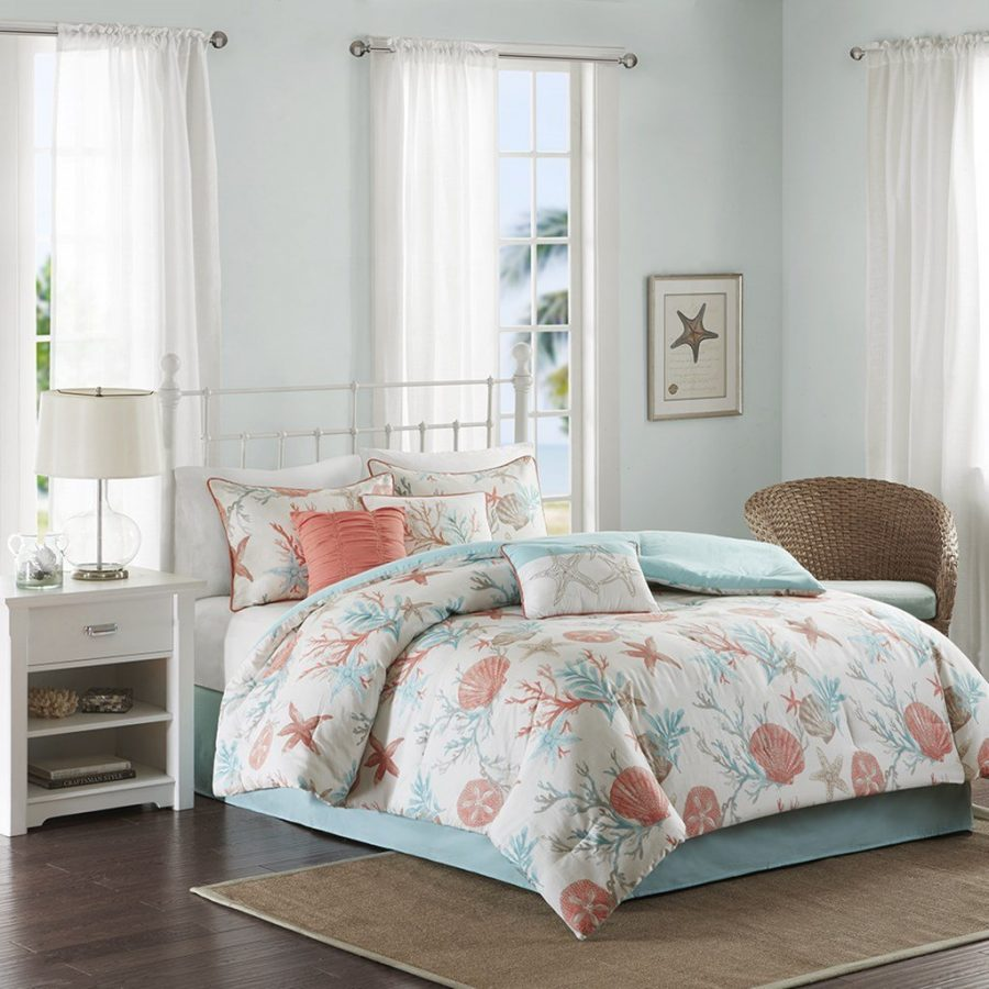 Coral Amp Teal Seashells Comforter Set Bed In A Bag