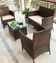 merax brown rattan wicker sofa