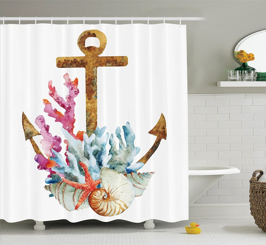 30-Anchor-Coral-Shell-Shower-Curtain The Best Anchor Shower Curtains You Can Buy