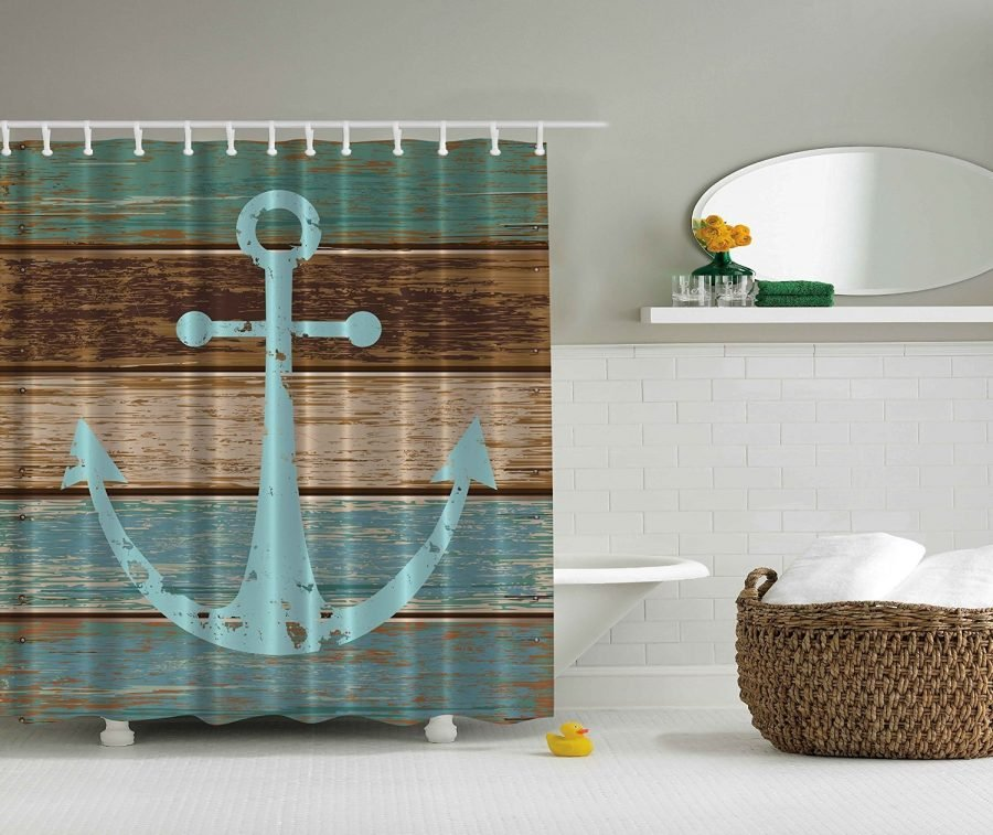 Ambesonne nautical rustic anchor shower curtain for Nautical bathroom decor ideas