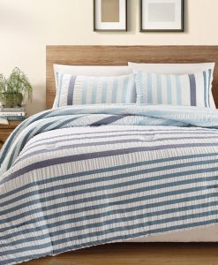 KingLinen Blue Striped Seersucker Bed in a Bag Set