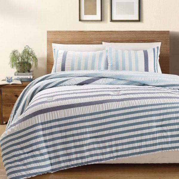 KingLinen Blue Striped Seersucker Bed in a Bag Set