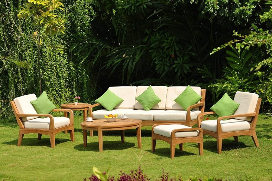 Noida 6 Piece Teak Lounge Patio Sofa Set