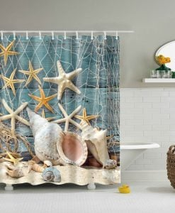 6-Seashell-Conch-And-Starfish-Shower-Curtain-247x300 The Best Beach Shower Curtains You Can Buy