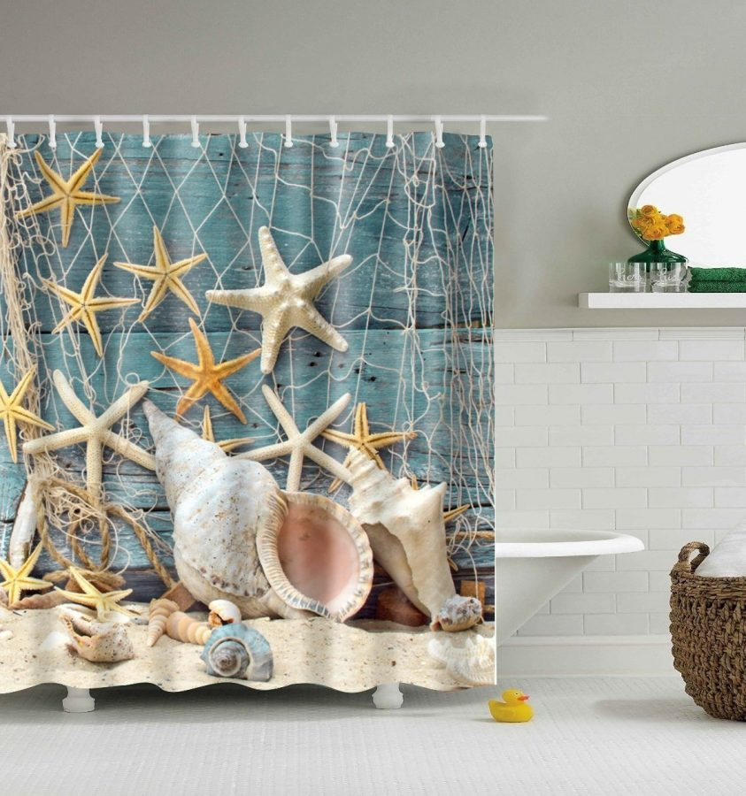 Seashell conch and starfish shower curtain for Seashell bathroom set