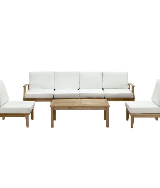 lexmod 7pc outdoor teak sofa set