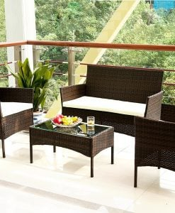 merax outdoor rattan wicker set