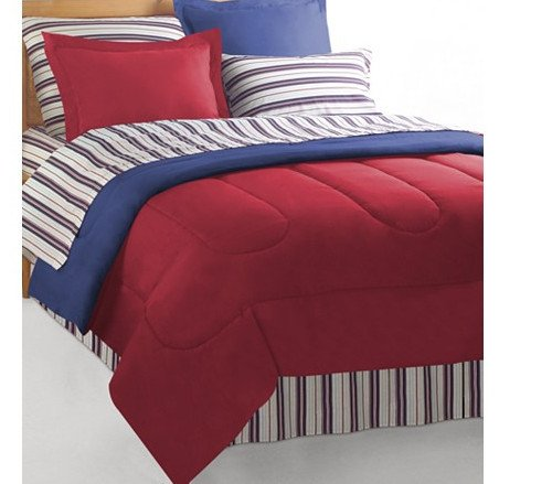 Red Blue Reversible Nautical Bedding Set Bed In A Bag