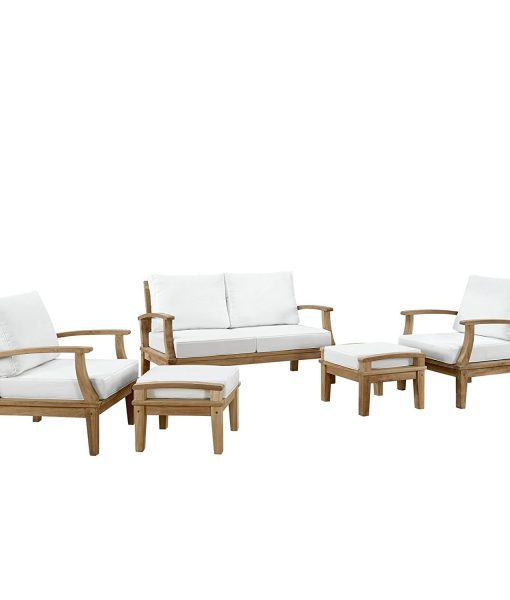 lexmod outdoor 5pc teak patio set