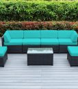 ohana mezzo turquoise wicker sofa set
