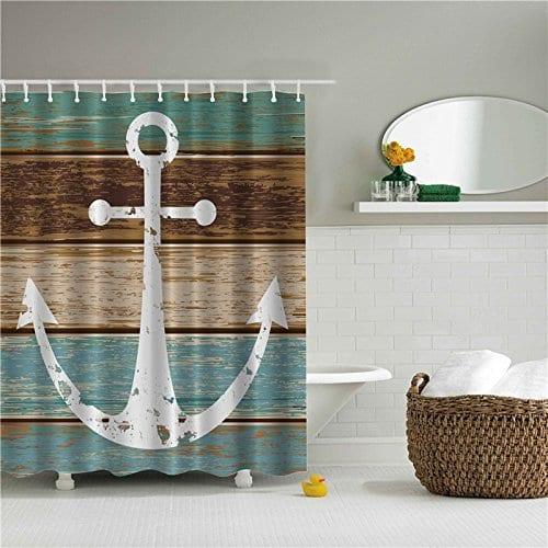 Beddinginn-Fabric-Decor-Shower-Curtain-Vintage-Nautical-Navy-Anchor Nautical and Beach Themed Shower Curtains
