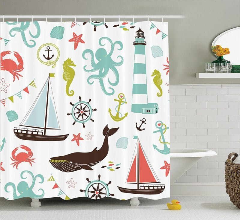 Fabric-Shower-Curtain-by-Ambesonne-800x736 Nautical and Beach Themed Shower Curtains