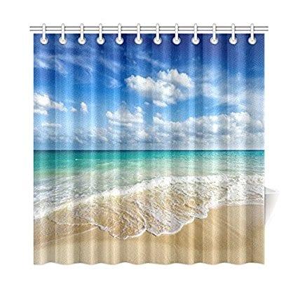 InterestPrint-Beach-Ocean-Theme-Shower-Curtain Nautical and Beach Themed Shower Curtains