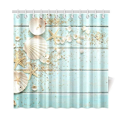 InterestPrint-Seashell-Home-Decor-Sand-Starfish-Blue-Wooden-Back-Polyester-Fabric-Shower-Curtain Nautical and Beach Themed Shower Curtains
