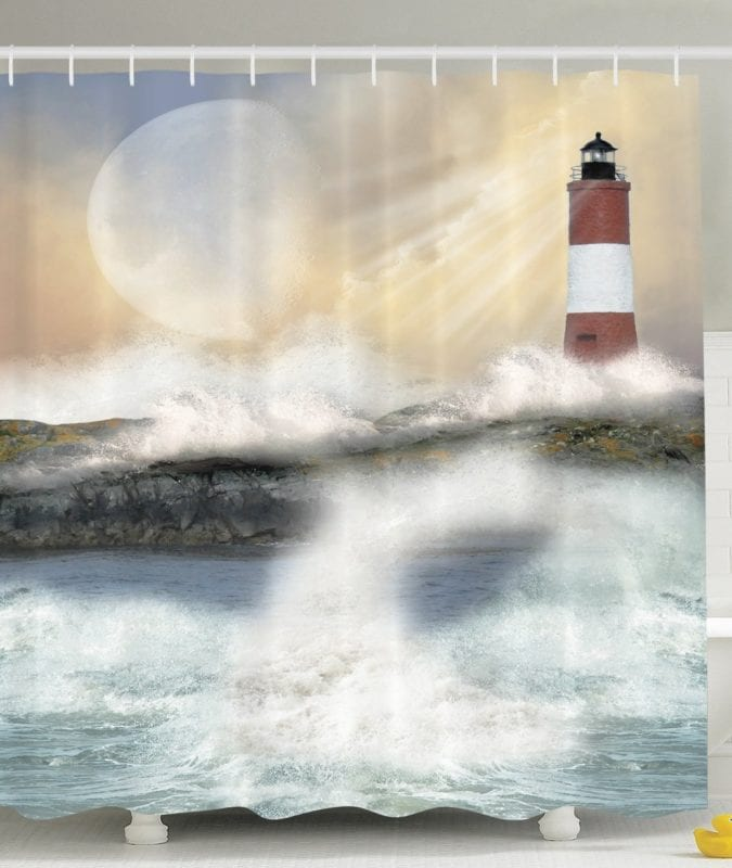 Nautical-Shower-Curtain-by-Ambesonne-675x800 Nautical and Beach Themed Shower Curtains