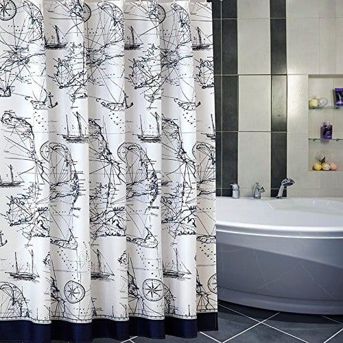Uforme-Sea-Theme-Nautical-Shower-Curtain- Nautical and Beach Themed Shower Curtains