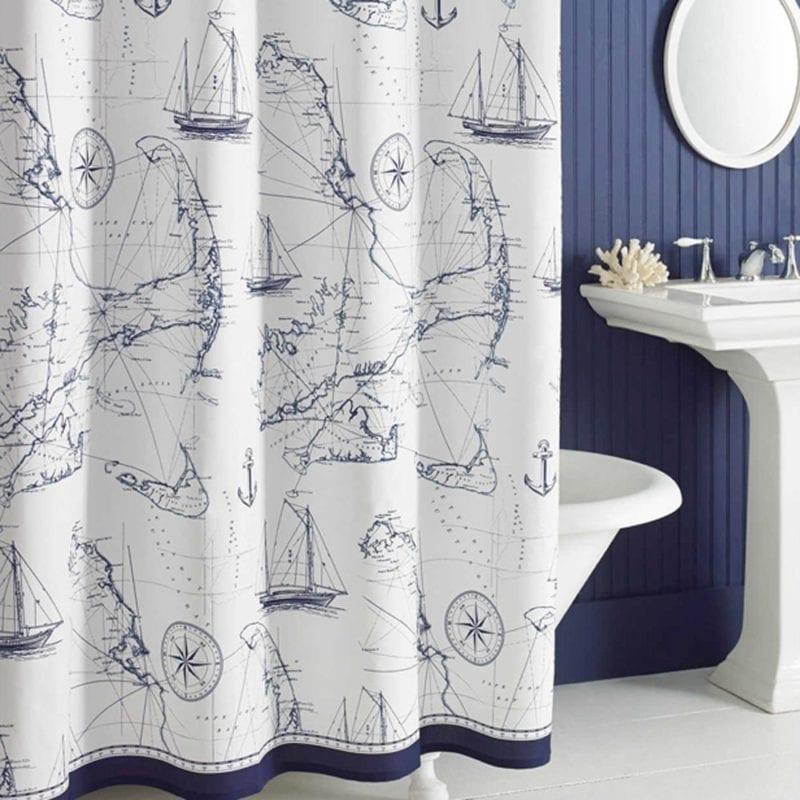 Uphome-Shabby-Cape-Island-Map-Bathroom-Shower-Curtain-800x800 Nautical and Beach Themed Shower Curtains