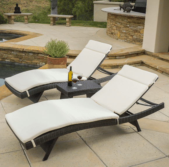 Rio vista 3 piece cushioned chaise lounge set for 3 in 1 beach chaise lounge