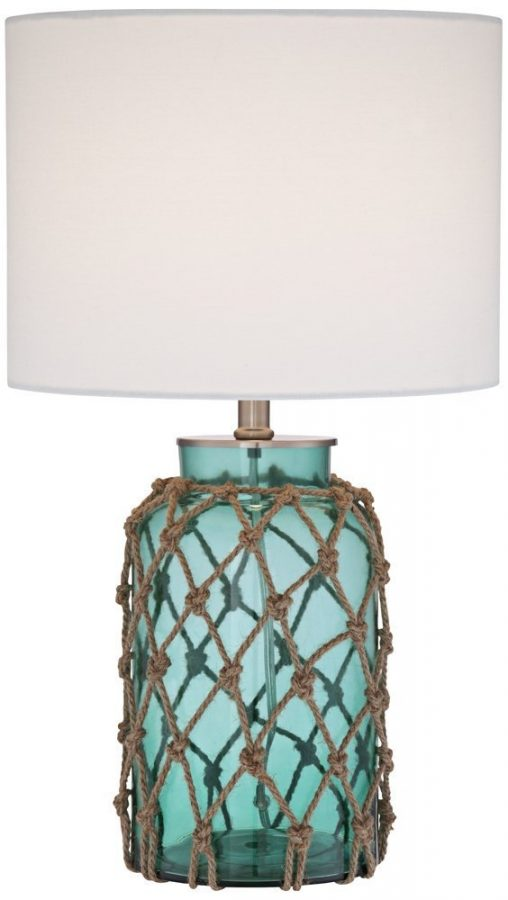 Wonderful Crosby Blue Glass Bottle Rope Table Lamp
