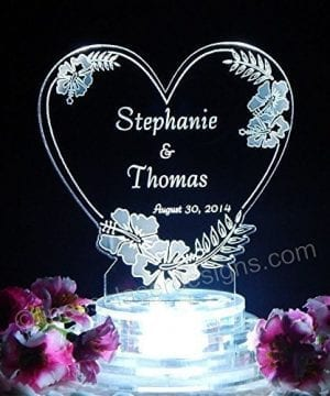 Hibiscus Heart Lighted Beach Wedding Topper