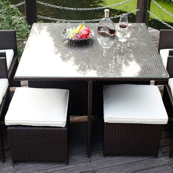 Merax 9PC Black Wicker Dining Set