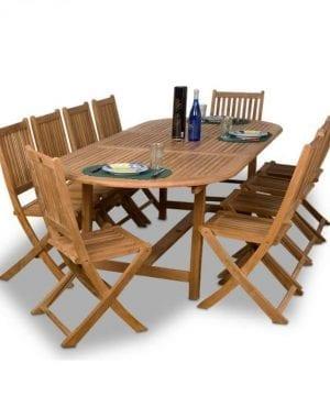 Amazonia Teak Bergen 11-PC Oval Dining Set