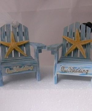 Blue Adirondack Chairs Wedding Cake Topper