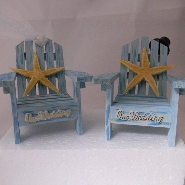 Blue Adirondack Chairs Wedding Cake Topper
