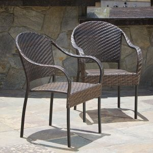 Set of 2 Outdoor Stackable Wicker Chairs