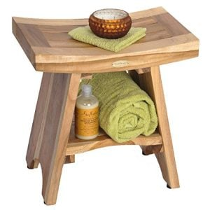 EarthyTeak Asian Style Teak Shower Bench