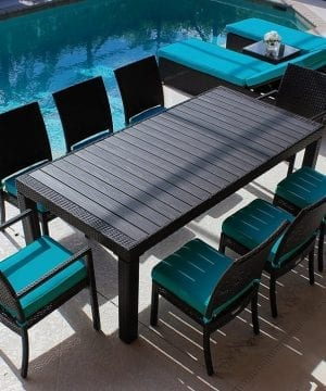 Modern Wood Top Outdoor Wicker Dining Set