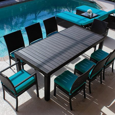 11-modern-wood-top-outdoor-wicker-dining-set-450x450 Best Outdoor Wicker Patio Furniture