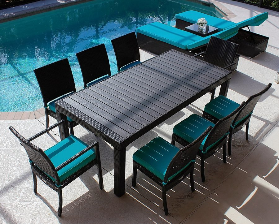 Modern wood top outdoor wicker dining set for Outdoor dining chairs modern