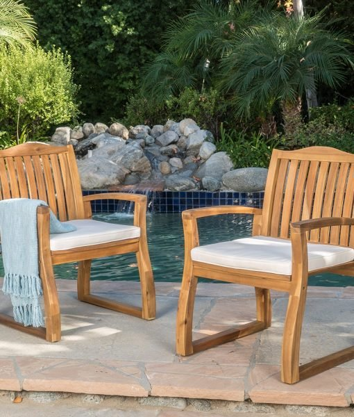 Tampa Teak Acacia Wood Chairs (Set of 2)
