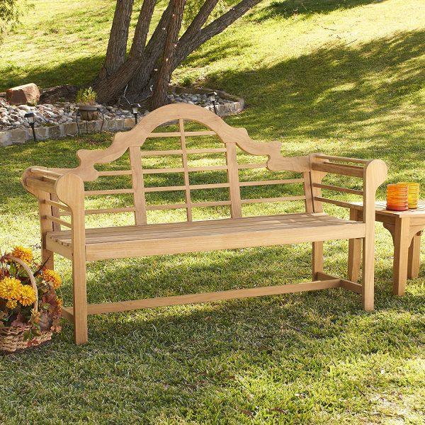 "Lutyens Brown 4"" Wood Teak Bench"