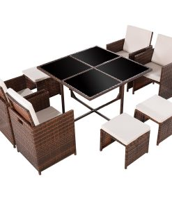 Tangkula 9PC Garden Wicker Dining Set