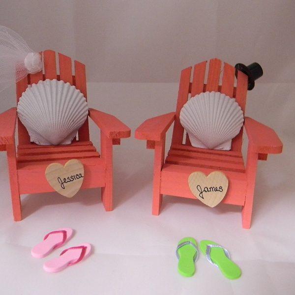 Adirondack Chair Seashells Beach Wedding Cake Topper