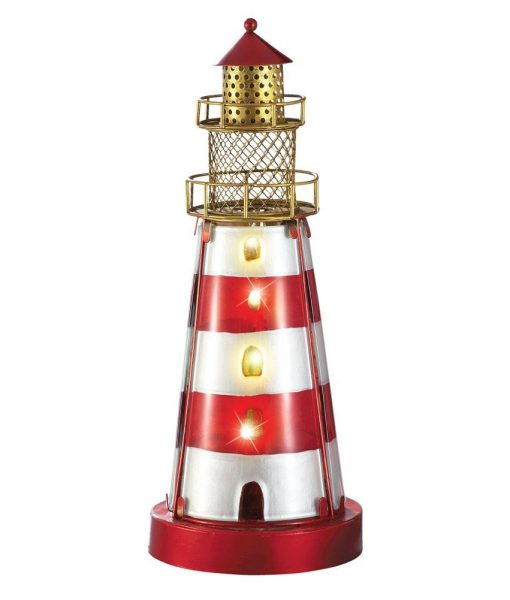 Glass Iron Coastal Nautical Lighthouse Lamp