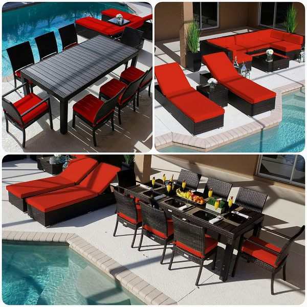 Modern 19PC Outdoor Red Wicker Furniture Set