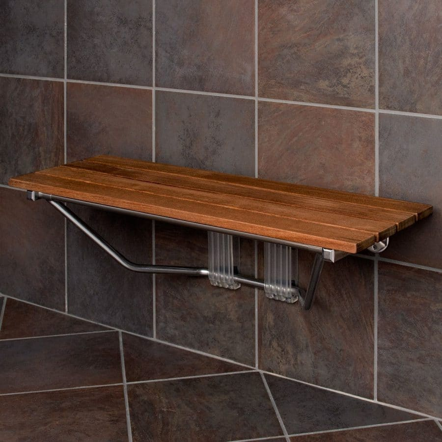 Modern Folding Built In Teak Shower Bench