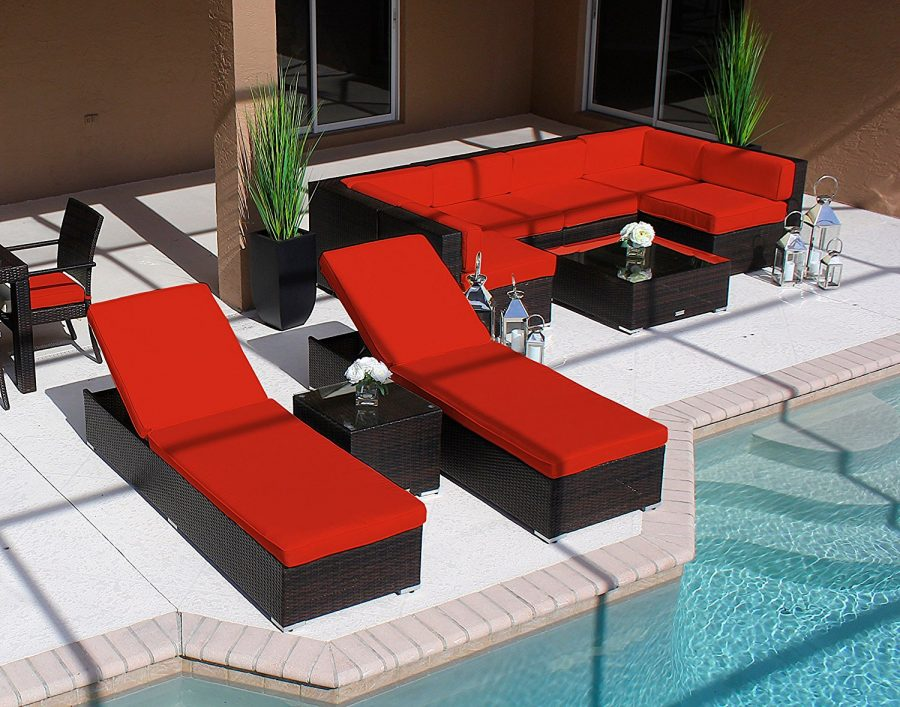 Modern 19pc outdoor wicker furniture set for Outdoor modern patio furniture