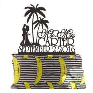 Palm Tree Personalized Beach Wedding Cake Topper