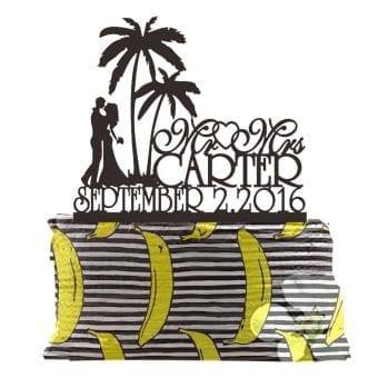 Palm Tree Personalized Beach Wedding Cake Topper