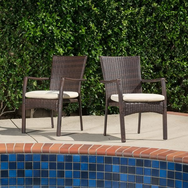 Melba Outdoor Brown Wicker Dining Chairs