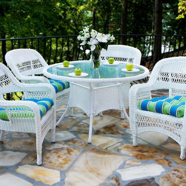 Tortuga White Outdoor 5PC Wicker Dining Set
