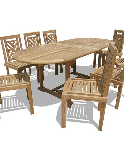 Windsor Premium Grade-A Teak Oval Dining Set